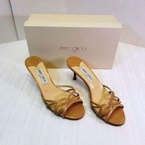 JIMMY CHOO Ivana Patent Nude Sandals  8 US/38.5 EU